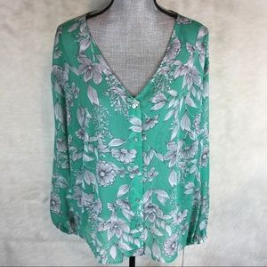 A New Day Plus Size Sheer Floral Blouse Shirt
